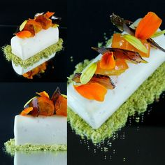 Another favourite shot of the homemade Kumquat set cheesecake caramel lace sheet poached orange blossom kumquats and pistachio dust. The caramel lace represents the splash of citrus flavours that this fruit has by fouadmakadsi