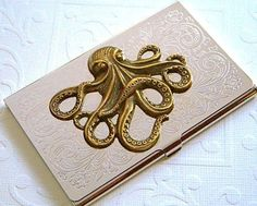 Nautical star business card case astronomical steampunk antiqued steampunk business card holder octopus mixed metals silver plated case with brass octo slim vintage style victorian design exclusive nautical steampunk reheart Gallery