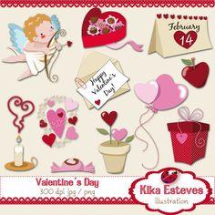 Valentine clipart - Kika Esteves illustration