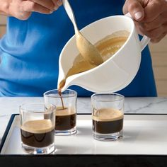 Café Cubano | A well-made café cubano has a thick layer of sweet crema (cream) floating over strong espresso. To get the crema right, whisk about 1 tablespoon of the espresso with sugar until it turns foamy, then pour the pot of espresso over it. Lourdes Castro says you can't overbeat a crema, so stir it energetically.