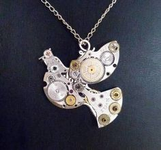 Unique Steampunk Robot Dove Bird Pendant With Old by MorgensternBg, $25.00