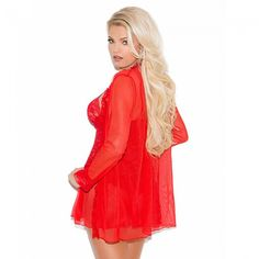 Red Lace Babydoll Set - To keep you covered up and confident, a matching long sleeve mesh jacket is paired along with this red lace baby doll. A racy red g-string completes this perfect set. #redbabydoll