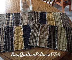 Black Homespun Quilted Placemats Rag Strip by RagQuiltsnPillowsUSA