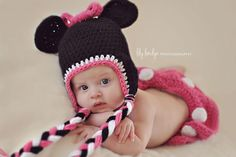 Minnie Mouse Hat & Diaper Cover Set