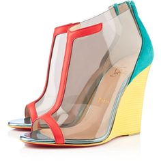 Christian Louboutin Scuba ($995) ❤ liked on Polyvore featuring shoes, sandals, wedges, heels, christian louboutin, view all, christian louboutin shoes, christian louboutin sandals, wedge heel sandals and see-through shoes