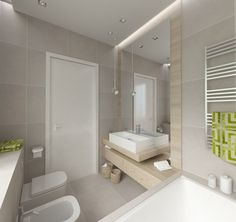 kleines bad in grau und gelb - led leisten | bäder | pinterest | led, Badezimmer