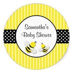 Bumble Bee Striped Polka Dots Baby Shower Stickers