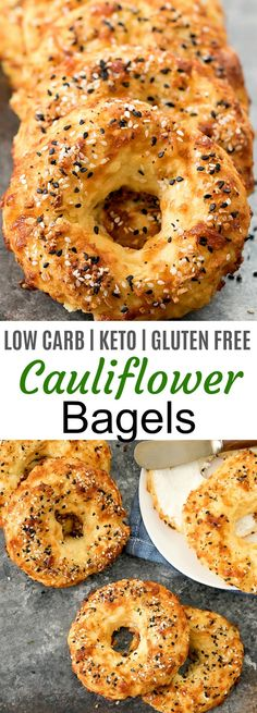 Crusty, chewy bagels made with cauliflower! These taste like… Cauliflower Bagels. Crusty, chewy bagels made with cauliflower! These taste like cheesy bagels and they are also low carb, keto, gluten free and wheat flour free. Diet Recipes, Vegan Recipes, Cooking Recipes, Crab Recipes, Top Recipes, Easter Recipes, Family Recipes, Dessert Recipes, Gluten Free Recipes