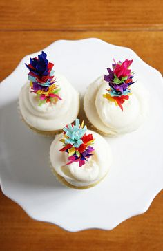 Fiesta Fringe Cupcake Toppers--made from crepe paper streamers and lollipop sticks | Lulu the Baker