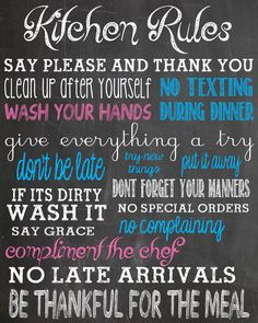Kitchen Rules Chalkboard Style Printable Digital Image Design Poster Kitchen Rules Sign