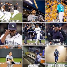 Not playing. this is pretty accurate. Although in 2014 it was touch and go till October :) Mariners Baseball, Spring Training, Seattle Seahawks, All Star, Baseball Cards, Sports, October, Fan, Touch