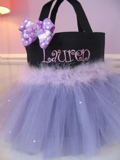 Embroidered Dance Bag - Personalized Girls Tote  Lavender with Rhinestones and Matching Hair Bow. $32.00, via Etsy.