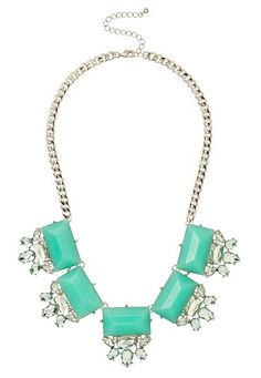 Ice Green gem and Rhinestone statement necklace (original price, $18) available at #Maurices