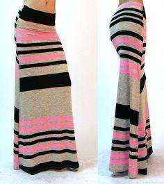 ff432d63f Pink Multi Striped Fold Over Waist Jersey Knit Full Length Long Maxi Skirt  Long Skirt Fashion