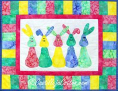 Easy wall hanging for a child's room. Fat eighth friendly. Bunny Parade Quilt Pattern CJC-4540 by Castilleja Cotton - Diane McGregor.  Check out our wall hanging patterns. https://www.pinterest.com/quiltwomancom/quilted-wall-hangings/  Subscribe to our mailing list for updates on new patterns and sales! https://visitor.constantcontact.com/manage/optin?v=001nInsvTYVCuDEFMt6NnF5AZm5OdNtzij2ua4k-qgFIzX6B22GyGeBWSrTG2Of_W0RDlB-QaVpNqTrhbz9y39jbLrD2dlEPkoHf_P3E6E5nBNVQNAEUs-xVA%3D%3D
