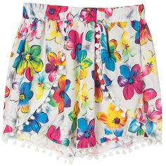 Choies Multicolor Floral Print Elastic Waist Pom Pom Shorts ($9.90) ❤ liked on Polyvore featuring shorts, multi, elastic waist shorts, floral shorts, stretch waist shorts, floral printed shorts and multi colored shorts