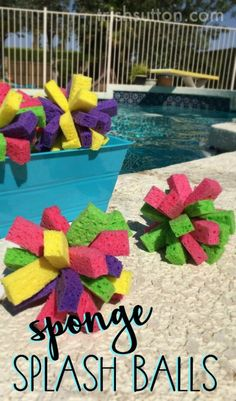 DIY Summertime Fun in the form of water bombs are easy to create with this simple Sponge Splash Balls tutorial. TrishSutton.com Diy Pool Toys, Pool Toys For Kids, Backyard For Kids, Backyard Games, Backyard Ideas, Outdoor Games, Outdoor Fun, Backyard Pool Parties, Diy Toys