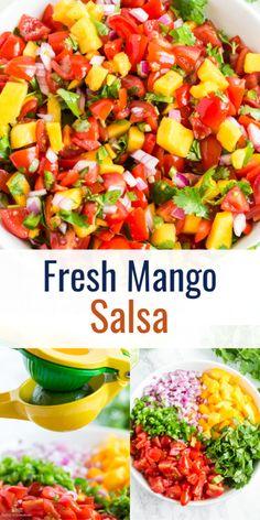 Fresh Salsa Recipe, Mango Salsa Recipes, Mango Salsa Recipe Without Cilantro, Mango Tomato Salsa, Fruit Salsa, Mexican Food Recipes, Vegetarian Recipes, Cooking Recipes, Healthy Recipes