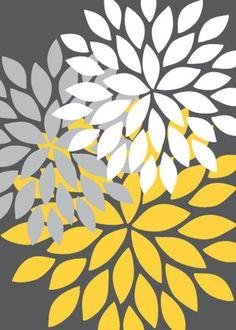 Flower Bursts Abstract Digital Fine Art Set of 3 Home Decor Sets, Graffiti, Stencil Patterns, Paint Designs, Pattern Paper, Kitchen Wall Art, Colorful Backgrounds, Original Artwork, Scrapbooking