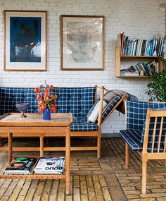 brick floor and walls + navy and white windowpane check (borge mogensen)