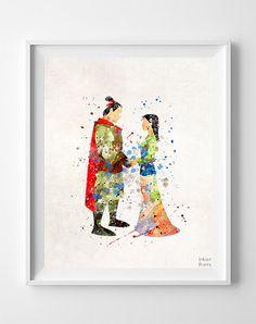 Mulan Print, Mulan Watercolor, Disney Poster, Office Wall Art, Dorm Decorations, Wall Art, Girls Room Wall, Baby Wall Decor, Christmas Gift