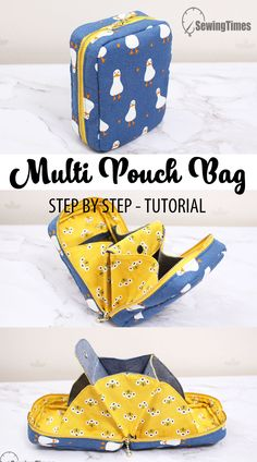 MULTI POCKETS POUCH DIY | Awesome Pouch Bag Tutorial & Sewing Pattern [sewingtimes] Diy Sewing Projects, Sewing Projects For Beginners, Sewing Tutorials, Sewing Crafts, Sewing Patterns, Wallet Sewing Pattern, Pouch Bag, Pouches, Creation Couture