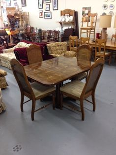 TEAK TABLE 4 Caned Back Padded Chairs Excellent Condition Quality Build 45000