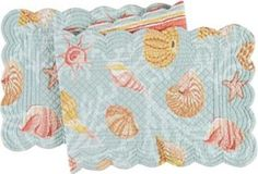 """Quilted 14"""" x 51"""" Runner, St Martin Blue by C $29.69. Save 33%!"""