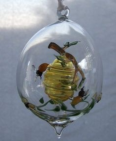 Hand-blown beehive on branch with bees inside blown sphere. Hives And Honey, Honey Bees, I Love Bees, Bee Skep, Bee Jewelry, Bee Crafts, Bee Art, Bee Theme, Save The Bees