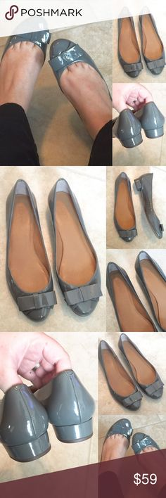 J. CREW  Gorgeous Patent GREY Heeled Flats, 9 In very nice condition!  Cute little heel!  A true size 9.  Adorable on!  Love these!  AX201216P J. Crew Shoes Heels