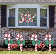 Christmas Candy Cane Yard Art Signs