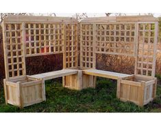 Double Planter Bench w/ Lattice -