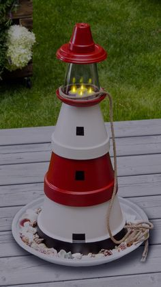 Make the lighthouse out of clay pots yourself, Maritime garden decor brings holiday flair into your own home. In our handicraft instructions, we show you how you can make a lighthouse with proper l. Flower Pot Crafts, Clay Pot Crafts, Flower Pots, Diy And Crafts, Pots D'argile, Clay Pots, Clay Pot Lighthouse, Mediterranean Decor, Decorating Small Spaces