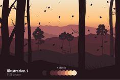 Autumn Vector Landscape Illustration by GraphicValley on Landscape Illustration, Graphic Illustration, Vector Illustrations, Fall Season, Landscapes, Scenery, Around The Worlds, Autumn, Seasons
