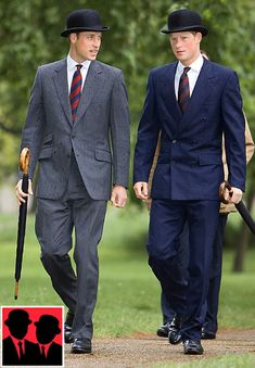 The Shoe AristoCat: The Bowler hat - dress like a London City Gent HRH Crown Prince William and HRH Prince Harry Prince Harry, Prince William And Harry, Prince Charles, Sharp Dressed Man, Well Dressed Men, British Style, British Royals, Dress Hats, Men Dress