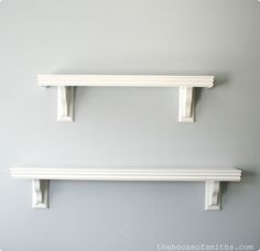 Ballard Design Inspired Shelves * 7 inch wide board I got the kind that already had primmer on them, because I was painting mine white anyway. * Door casing * Any kind of corbels * Small finishing nail gun * Wood glue * Wood putty/filler * Sand paper * Paint - See more at: http://www.thehouseofsmiths.com/2010/09/ballard-design-inspired-shelves.html#sthash.bYrErcEa.dpuf
