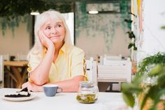 Pensive elderly woman sitting at table in cafe Photo Free Stock Photos, Free Photos, Photo Editing, Photoshop, People, Woman, Table, Photo Manipulation, Mesas