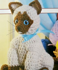 Siamese Cat Stuffed Toy, Soft Sculpture Pet, Kitty Kitten, Crochet Pattern
