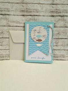 Glückwunschkarten - Taufkarte SCHIFFE & FISCHE - ein Designerstück von POMMPLA bei DaWanda