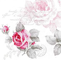 Très Jolie Serviette Bouquet de Rose Shabby Chic