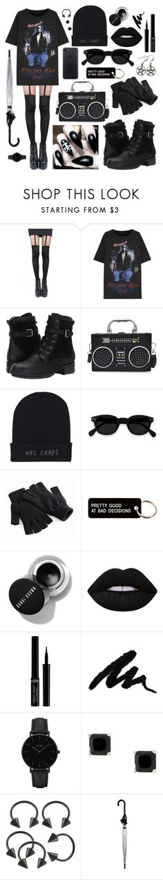 """""""All black modern goth"""" by pastelprincess152 ❤ liked on Polyvore featuring Pretty Polly, MM6 Maison Margiela, Blondo, Various Projects, Lime Crime, Giorgio Armani, CLUSE, Fulton, modern and Punk"""