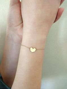 14K Gold heart bracelet14K solid gold braceletHammered heart