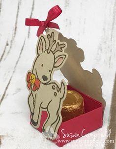 Sweet Christmas reindeer treat holder with Stampin' Up! Seasonal Chums and Seasonal Tags. www.suestmapfield.com