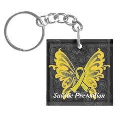 Suicide Prevention Awareness Ribbon Keychain Think the butterfly with the ribbon would make a cute tattoo!