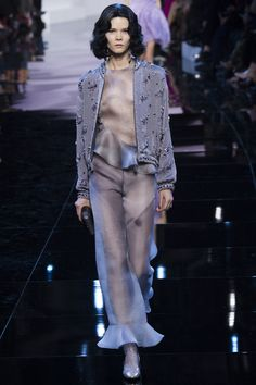Armani Privé Spring 2016 Couture Fashion Show Kook 28 together with a lady clad in look 27 at 9 o clock ( after sunset) in Santorini