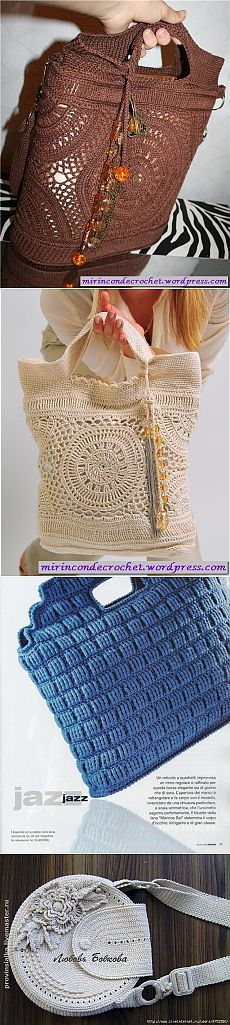 Handbags crocheted.  Selection of 4.