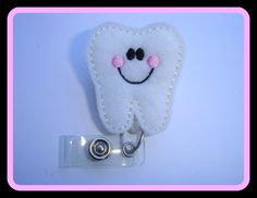 Badge Reel ID Holder Retractable - Tooth Buddy - white felt with pink and black - dentist dental assistant hygienist student DA DDS office. $6.25, via Etsy.