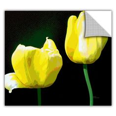 ArtApeelz 'Yellow Tulips' by Herb Dickinson Painting Print on Wrapped Canvas