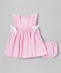 Another great find on #zulily! Pink & White Bow Tie Dress & Diaper Cover - Infant #zulilyfinds