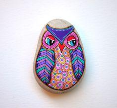 Hibou de Pierre peint à la main / Gufo par ISassiDellAdriatico